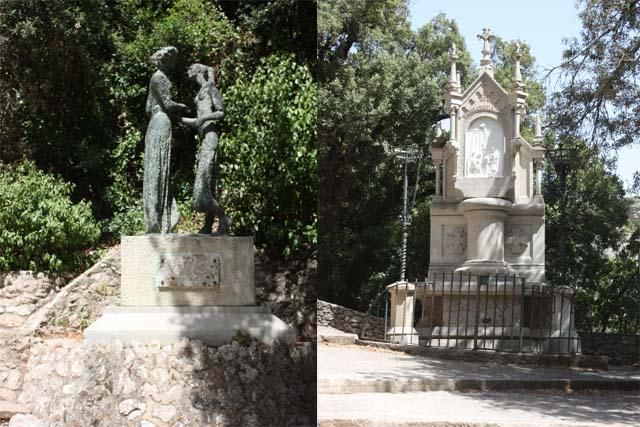 Santa Cova статуи на площадке у фуникулера