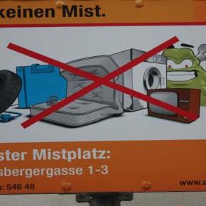 Вывеска в Вене над мусорными контейнерами