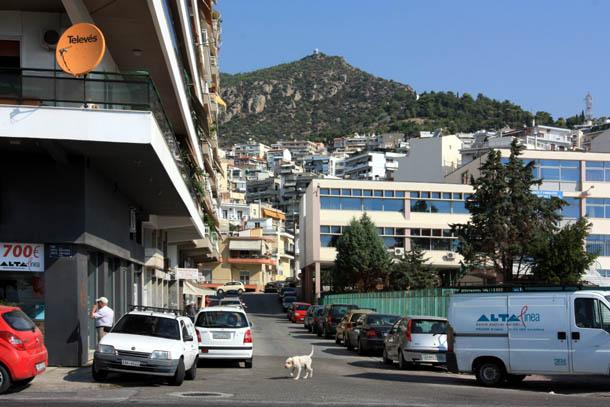 На улицах Кавалы - горы, дома и собаки