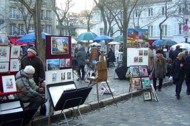 Картины художников на площади Тертр, Монмартр