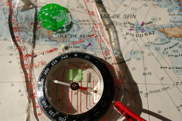 бумажная карта и компас
