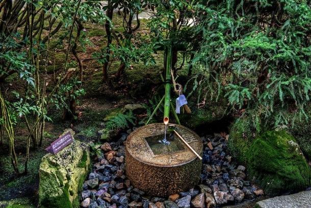 Каменная чаша с бамбуковой трубкой, из которой идет вода для чайной церемонии