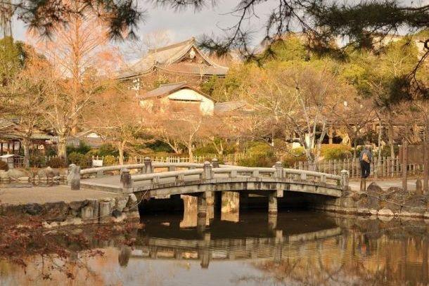 Чайный домик и пруд в парке Маруяма-Коен