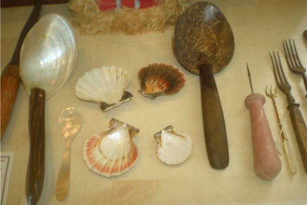 Музей ложки, экспонат ложки из ракушки