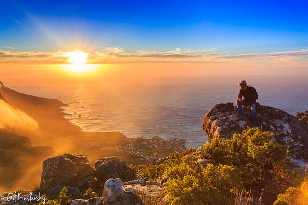 Закат в Table Mountain - Кейптаун, ЮАР