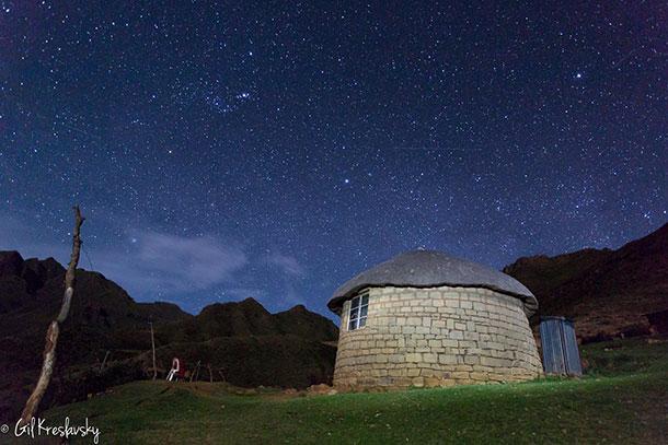 Звездное небо в одной из горных деревушек Лесото