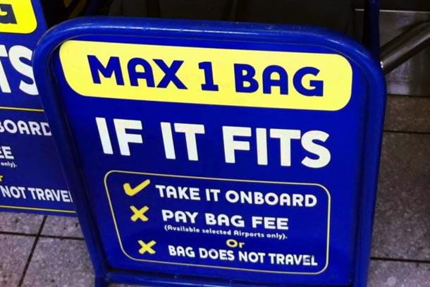 проверка размера багажа в Ryanair